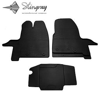Ford Tourneo Custom 2012- Комплект из 3-х ковриков Черный в салон
