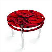 Стол кухонный стеклянный Круглый с проходящей полкой Rose 70х70 *Эко (БЦ-стол ТМ)