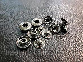 Кнопка альфа 12мм. Италия цвет темный-никель 633/06k Без шляпки