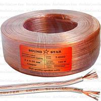 Кабель акустический Sound Star, Cu, 2х0.35мм², прозрачный, 100м
