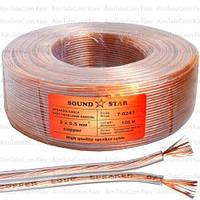 Кабель акустический Sound Star, Cu, 2х0.50мм², прозрачный, 100м