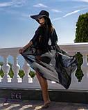 Черный пляжный халат - 42-44р. (бюст 84-88см, длина 142-145см), шифон, фото 2