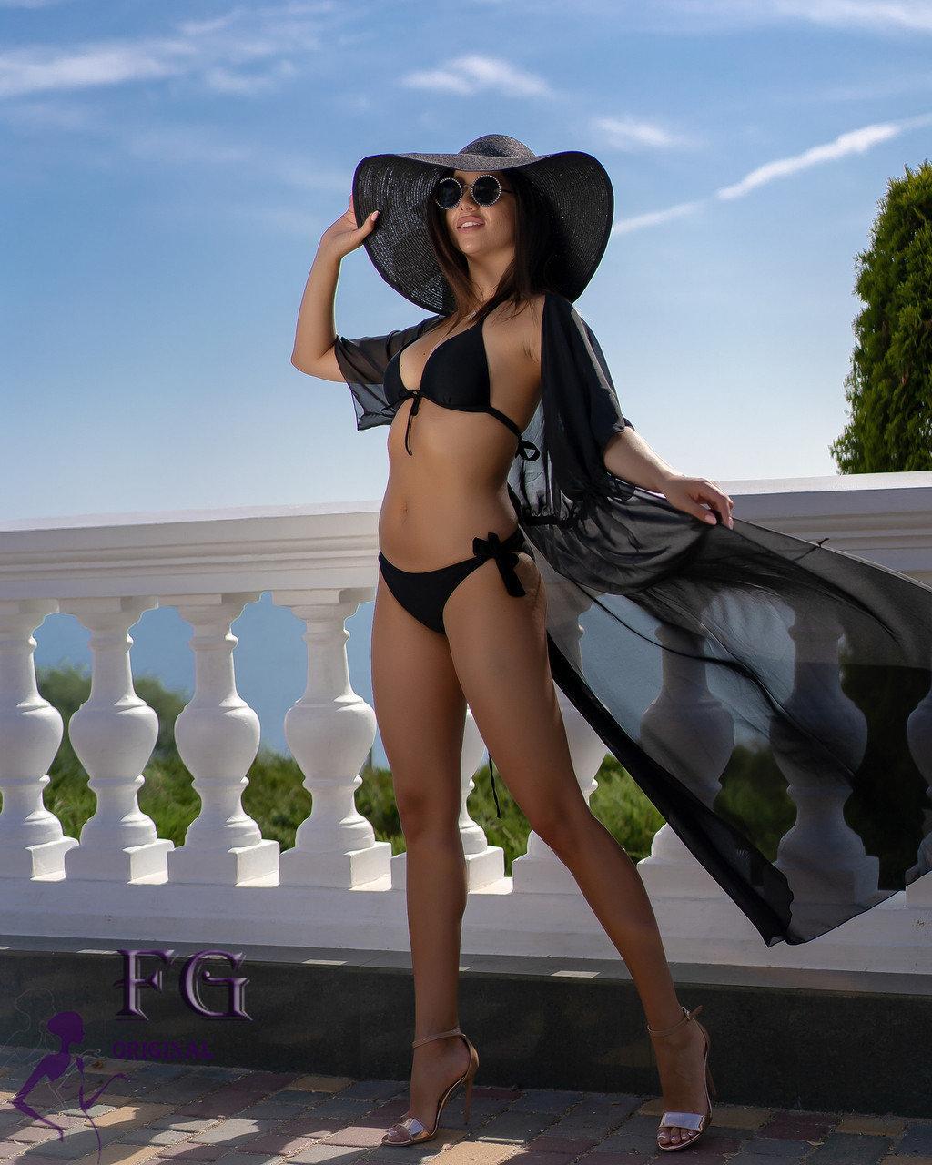 Черный пляжный халат - 42-44р. (бюст 84-88см, длина 142-145см), шифон