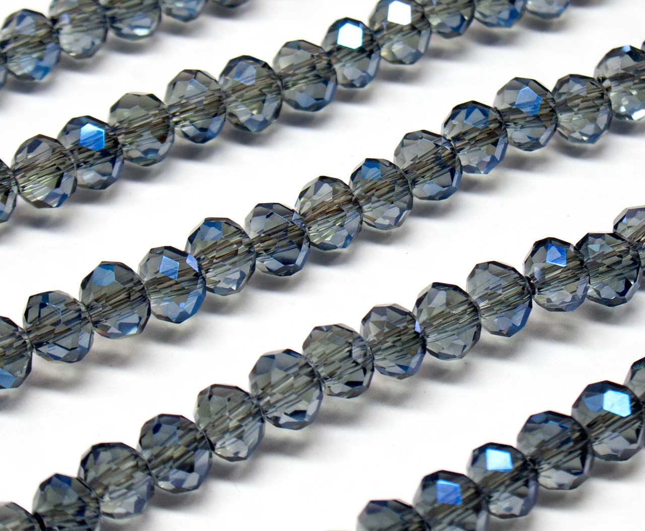 Бусины хрустальные (Рондель)  6х4мм пачка - 95-105 шт, цвет - серый прозрачный с синим АБ