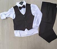 Школьная форма детская костюм тройка с жилеткой для мальчиков, 5-8лет, черного цвета