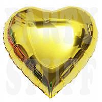 Шар фольгированный Сердце золото Китай, 12 см (5')