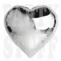 Шар фольгированный Сердце серебро Китай, 12 см (5')