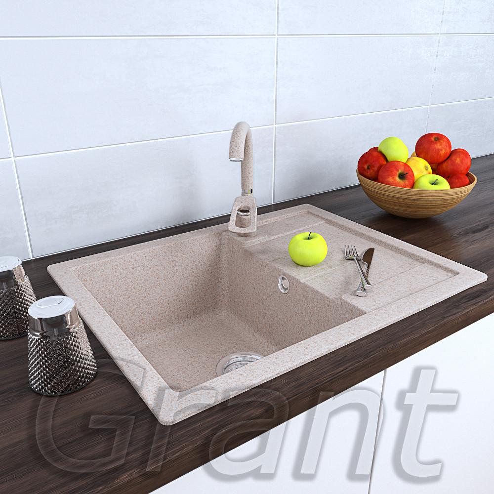 Гранитная кухонная мойка 650х500 Grant avena с крылом