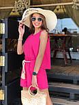 Женский летний костюм из льна: свободная майка и шорты с высокой посадкой (в расцветках), фото 4