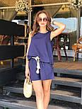 Женский летний костюм из льна: свободная майка и шорты с высокой посадкой (в расцветках), фото 9