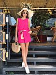 Женский летний костюм из льна: свободная майка и шорты с высокой посадкой (в расцветках), фото 10