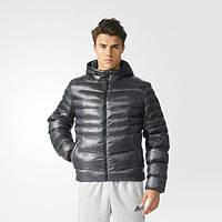 Куртка спортивная мужская adidas Filled Print J AP9755 (черная, зимняя, синтепон, с капюшоном, логотип адидас)