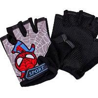 Перчатки велосипедные Sporty беспалые детские велоперчатки Spider man Gray