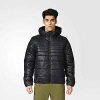 Куртка спортивная мужская adidas Padded Jacket AP9542 (черная, зимняя, синтепон, с капюшоном, логотип адидас), фото 1
