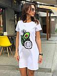 Женское платье-футболка с карманами и актуальными принтами, фото 2
