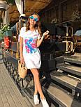 Женское платье-футболка с карманами и актуальными принтами, фото 5