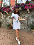 Женское платье-футболка с карманами и актуальными принтами, фото 4