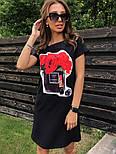 Женское платье-футболка с карманами и актуальными принтами, фото 10