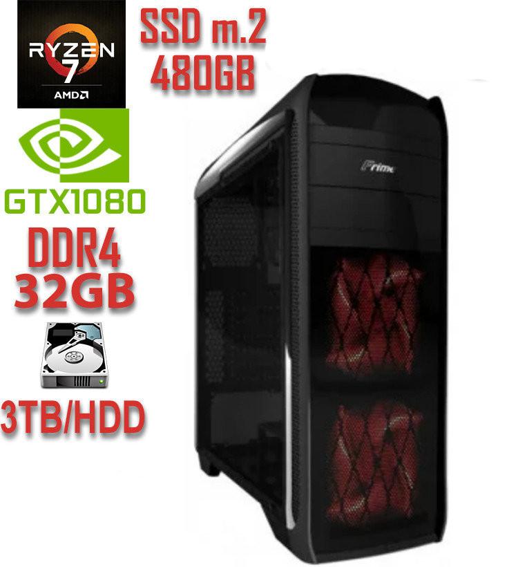 Игровой компьютер NG Ryzen 7 1700X F3 / Ryzen 7 1700X / DDR4-32Gb / SSD-M.2-480Gb / HDD-3Tb / GeForce GTX1080