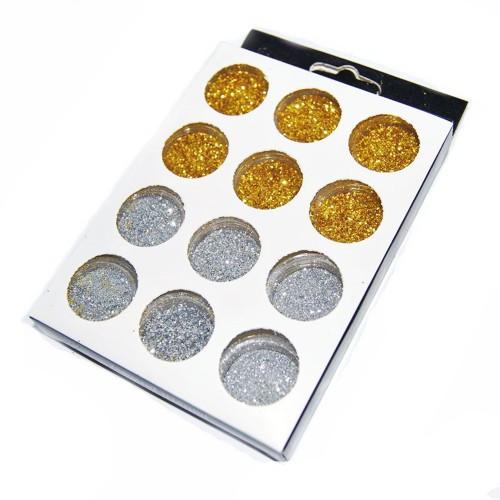 Набор декора для ногтей 12 шт (золото серебро)