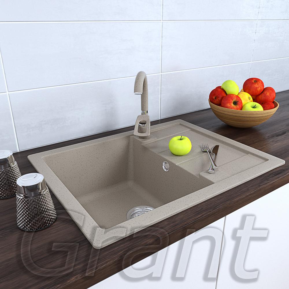 Прямоугольная кухонная раковина 650х500из гранита с крылом ТМ Grant, цвет - сахара