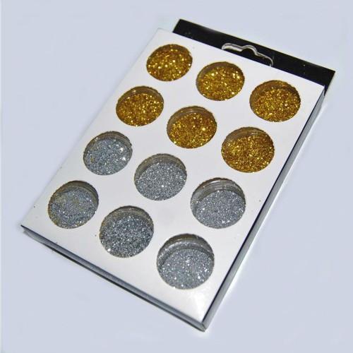 Набор декора для ногтей 12 шт (золото серебро малая)
