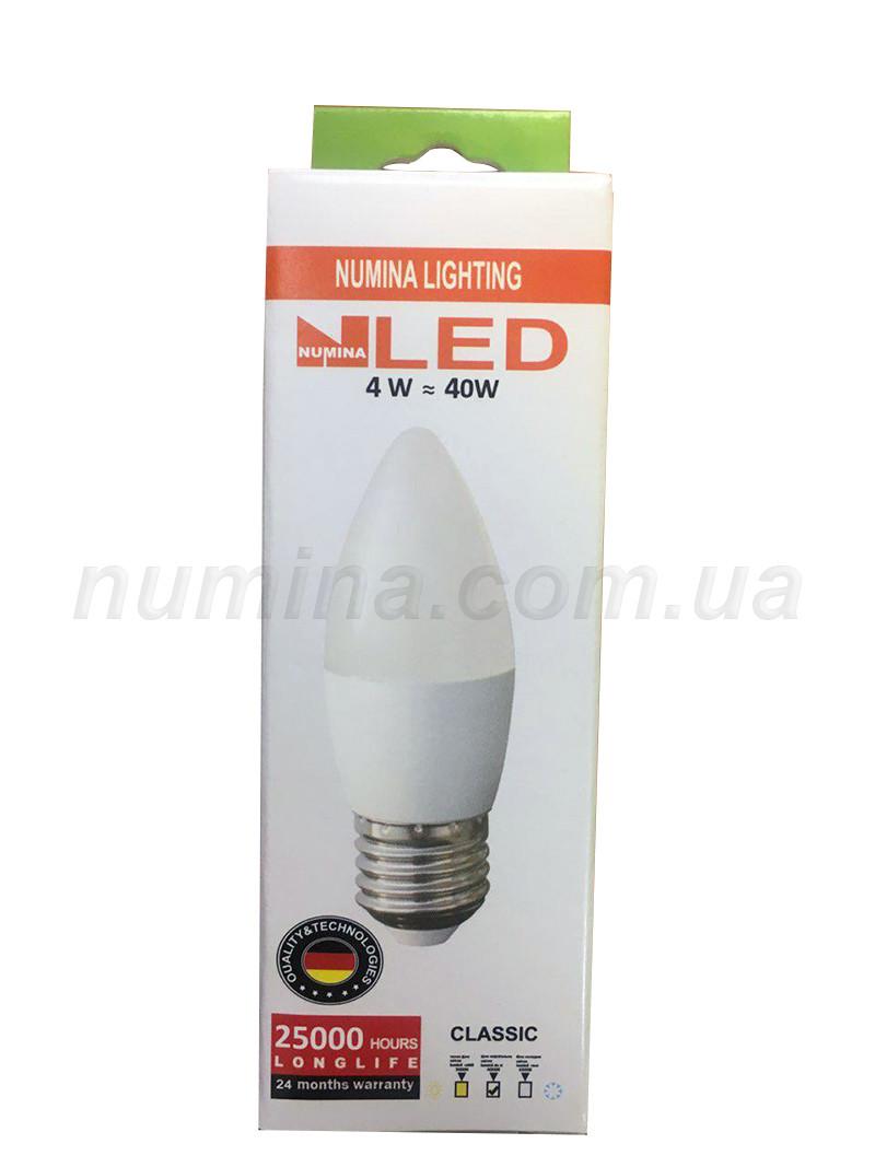 Светодиодная лампа свеча LAMP картон С37 4W E27 4000K