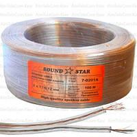 Кабель акустический Sound Star, CCA, 2х0.08мм², прозрачный, 100м
