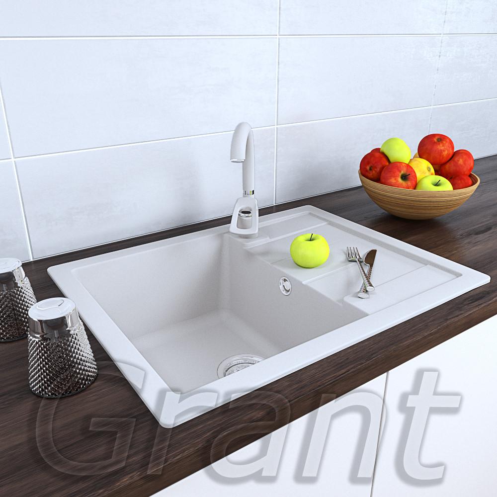 Белая гранитная мойка 650х500 врезная для кухни ТМ Grant