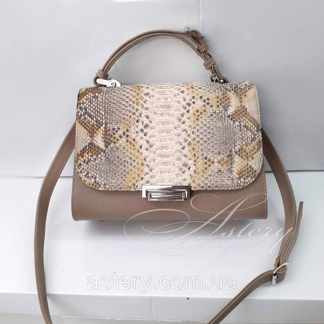 Женская бежевая сумка LAURA из кожи и питона