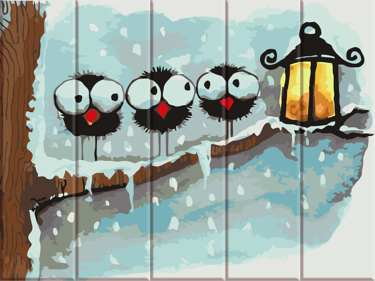 Рисование по номерам на дереве Зимние птички ArtStory ASW058 30 х 40 см