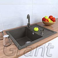 Врезная кухонная мойка 650х500 прямоугольной формы из гранита ТМ Grant, цвет - серый, фото 1