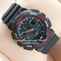 Неубиваемые спортивные наручные часы Casio G-shock GA-100 разных цветов Красный Черный Черный