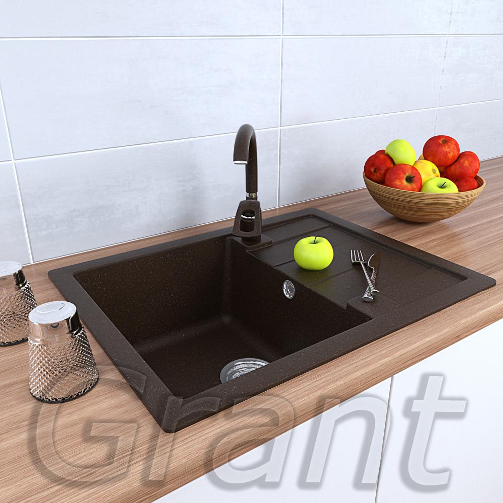 Прямоугольная врезная гранитная мойка 650х500 в кухню ТМ Grant, цвет - коричневый