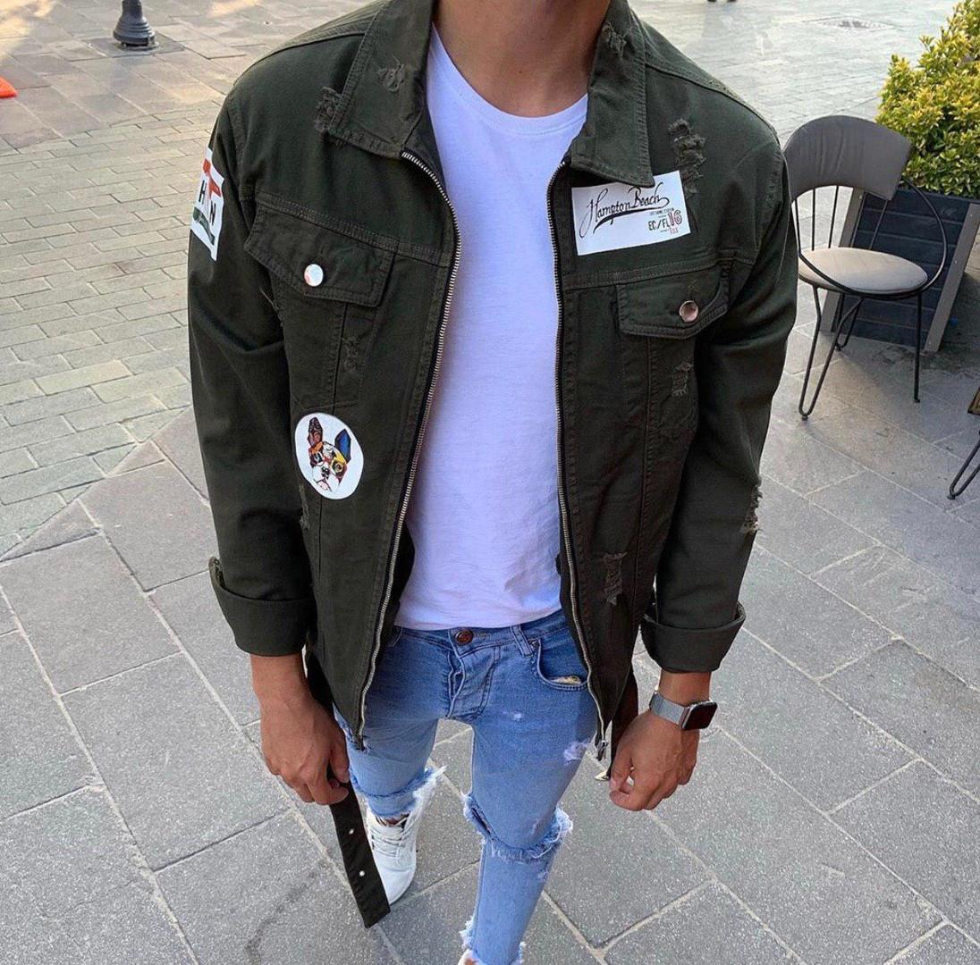 Чоловіча джинсова куртка джинсовці на блискавці хакі. Фото в живу