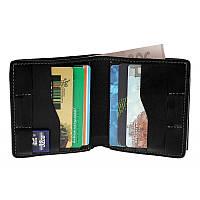 Кожаное мужское портмоне Grande Pelle Lettera 537110, мужской кошелек с монетницей черный