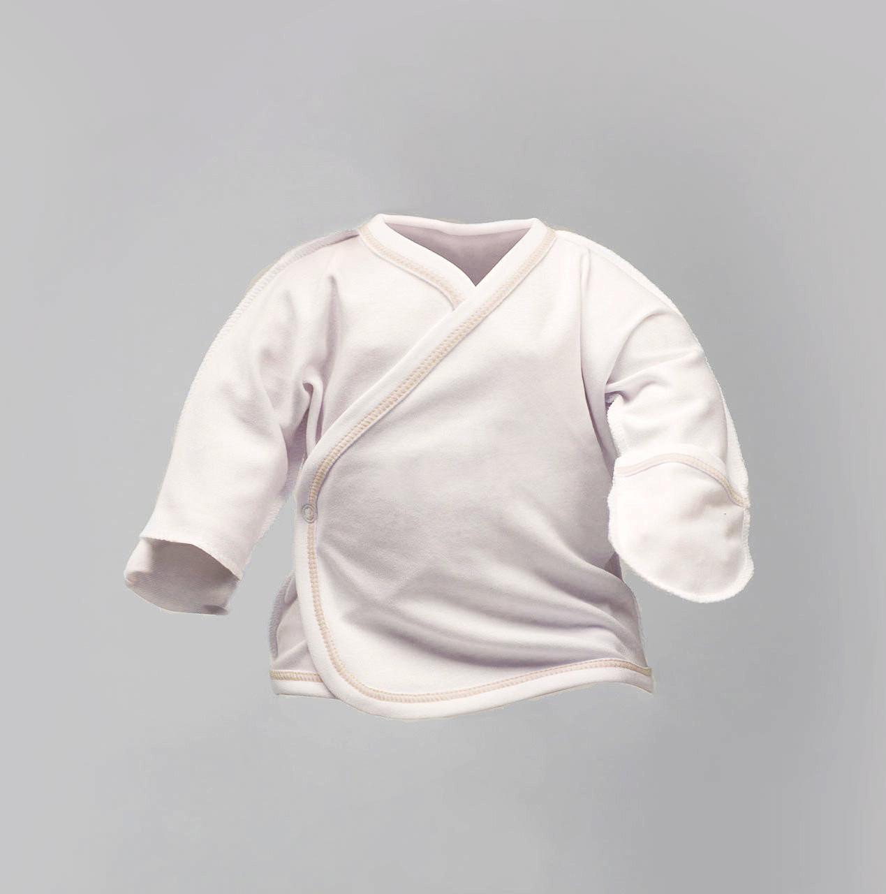 Распашонка для новорожденных отстроченная нитью капучино, цвет масло Интерлок  |  Льоля для новонароджених