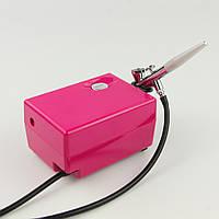 Аэрограф с компрессором для ногтей SP-16 , розовый