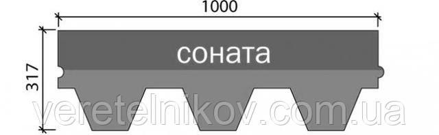 Форма нарезки – Соната (размер одного элемента 1000х317 мм)