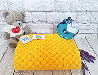 Плед детский 85х85 см Alize Puffy Желтый №216 (Ручная работа)