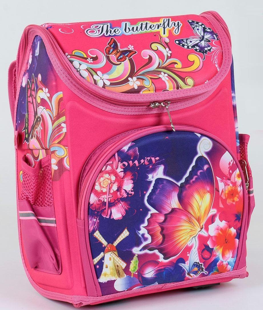 """Детский школьный рюкзак ортопедический 37х29х20см """"Бабочка"""". Каркасный портфель, ранец для девочек РОЗОВЫЙ"""