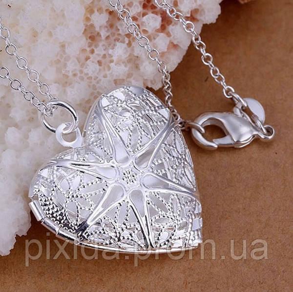 Медальйон сердечко с тайником покрытие 925 серебро