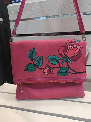 Женская сумка через плечо с принтом розы, фото 2