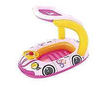 Надувная лодочка- плотик Машинка розовая  BW 34103 Bestway