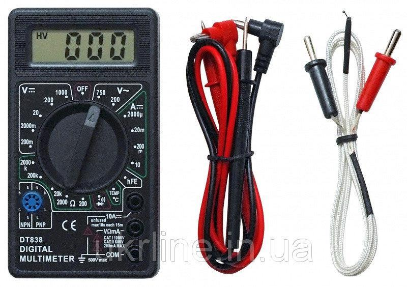 Мультиметр тестер вольтметр амперметр DT-838 Черный