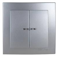 Двойной выключатель с подсветкой Nilson Metallik серебро