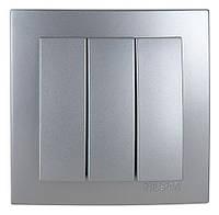 Тройной выключатель Nilson Touran Metallik серебро
