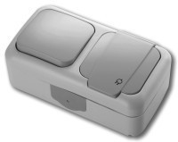 Выключатель+ Розетка влагозащитная PALMIYEс/заземл. (серый)Viko
