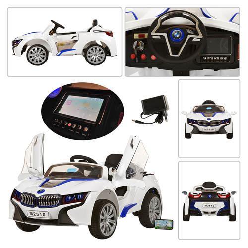 Детский Электромобиль BMW М 2510 белый со встроенным планшетом, колеса EVA, амортизаторы и пульт BlueTooth