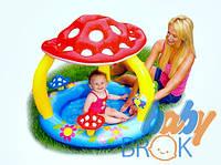 Надувной детский бассейн Грибок с навесом Intex